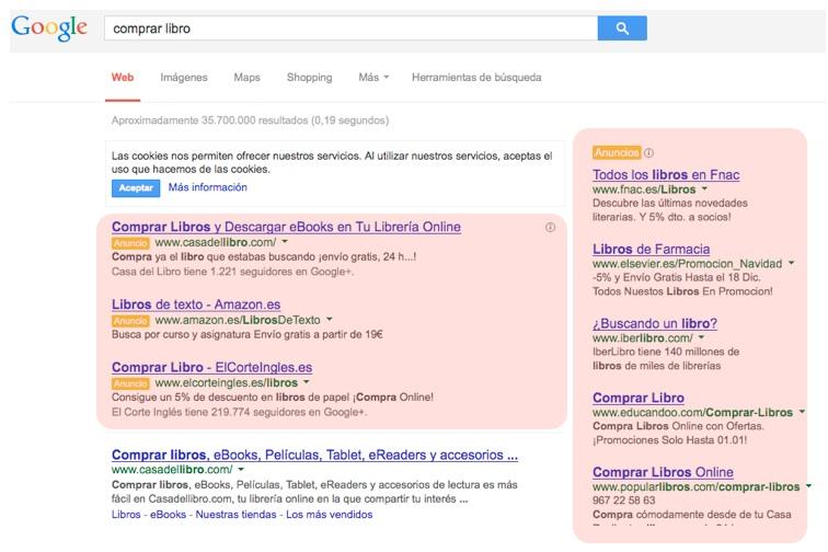 Resultados de una búsqueda en Google, en rojo la publicidad.